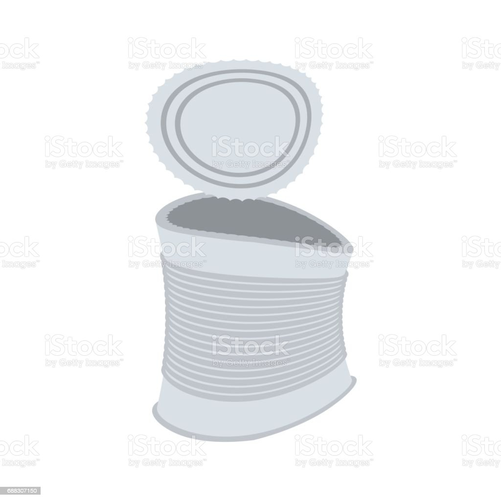 Tin crushed garbage isolated. Can rubbish on white background vector art illustration