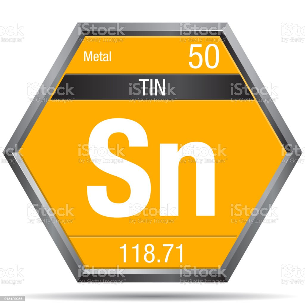Tin symbol in the form of a hexagon with a metallic frame element tin symbol in the form of a hexagon with a metallic frame element number 50 biocorpaavc Image collections