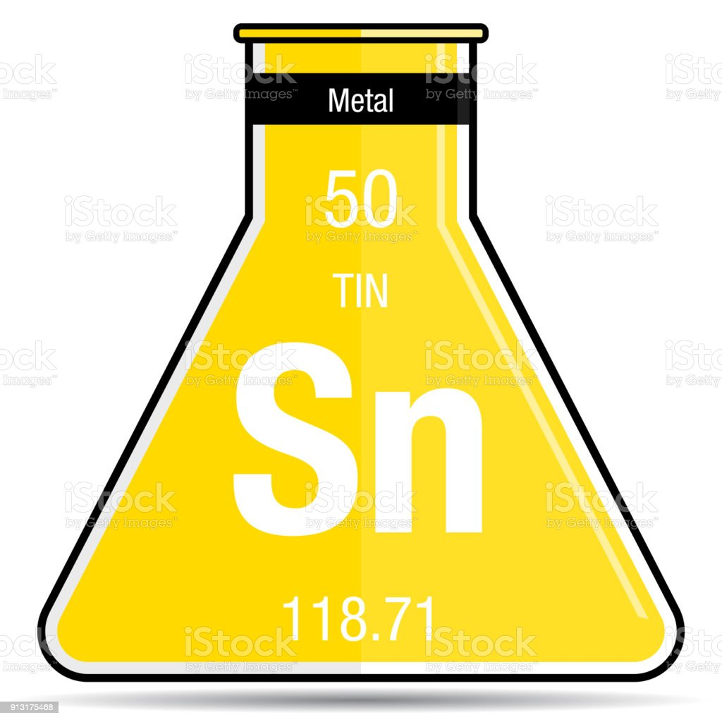 Tin Symbol On Chemical Flask Element Number 50 Of The Periodic Table