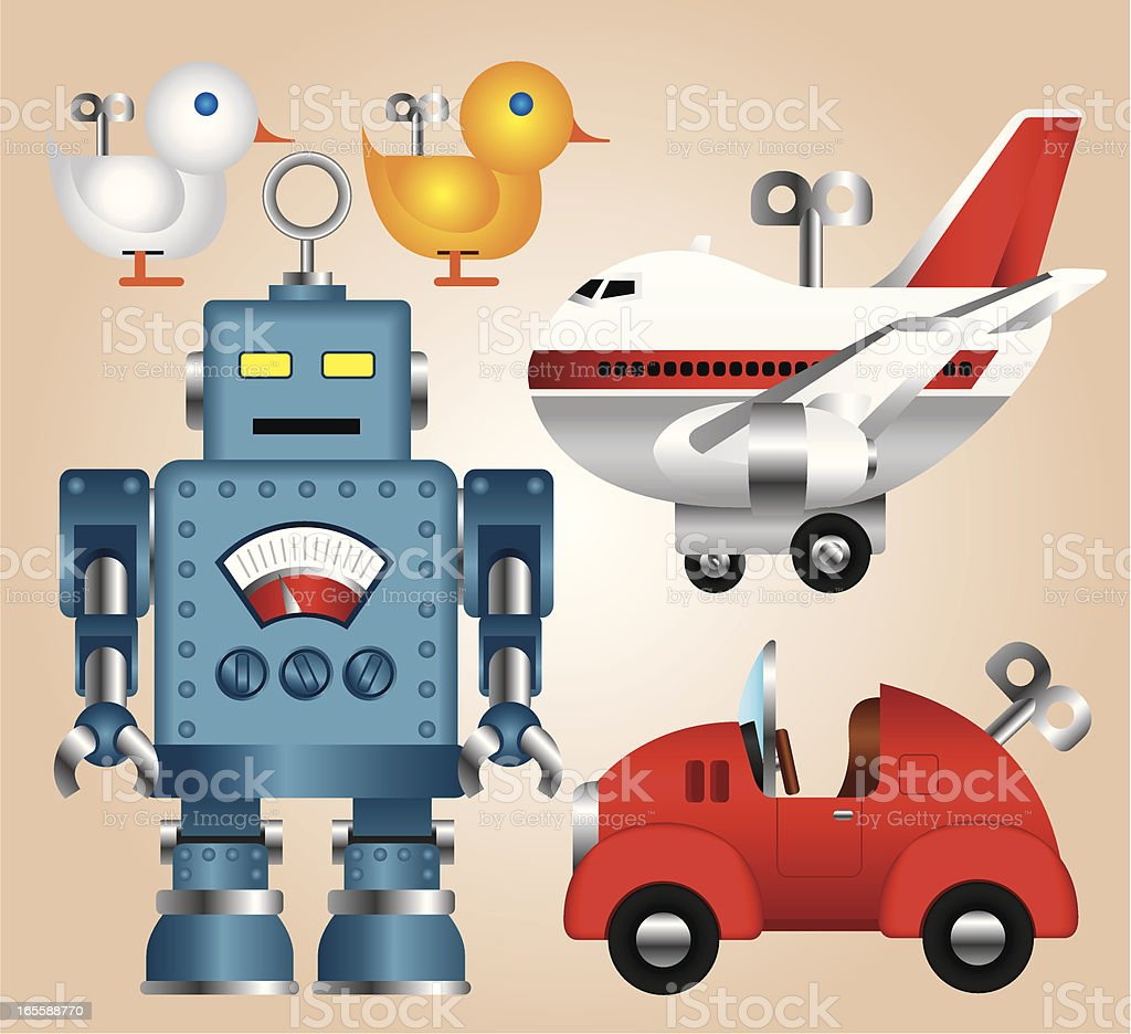 Tin Toys Collection royalty-free stock vector art