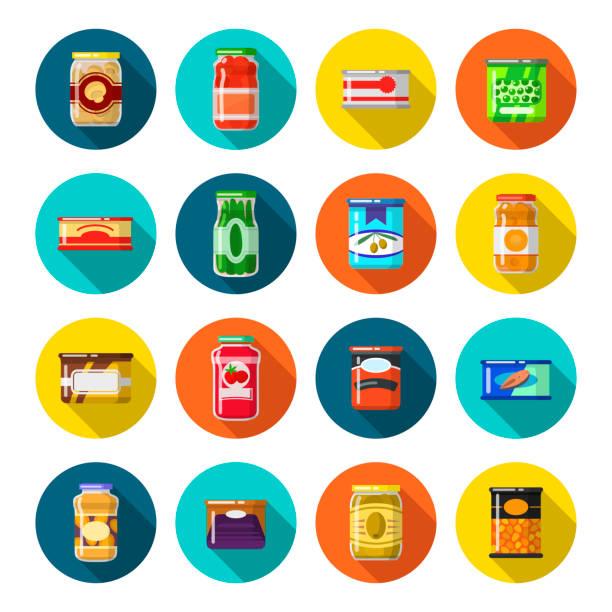 ilustrações de stock, clip art, desenhos animados e ícones de tinned goods set - jam jar