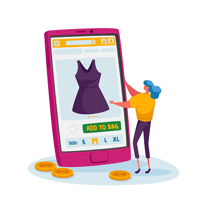 Tint Female Customer Character Choose Dress on Huge Smartphone. Online Shopping Concept. Girl Buying Apparel at Gadget