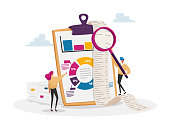 istock Tiny Accountant Characters Make Accountant Report Check Money Balance at Huge Clip Board Calculate Bookkeeping Data 1278695300