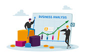 istock Tiny Business Characters Stand at Huge Analytics Graph with Growing Arrow and Financial Statistics, Analysing Big Data 1284636495
