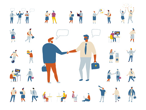 Tiny business people flat vector set