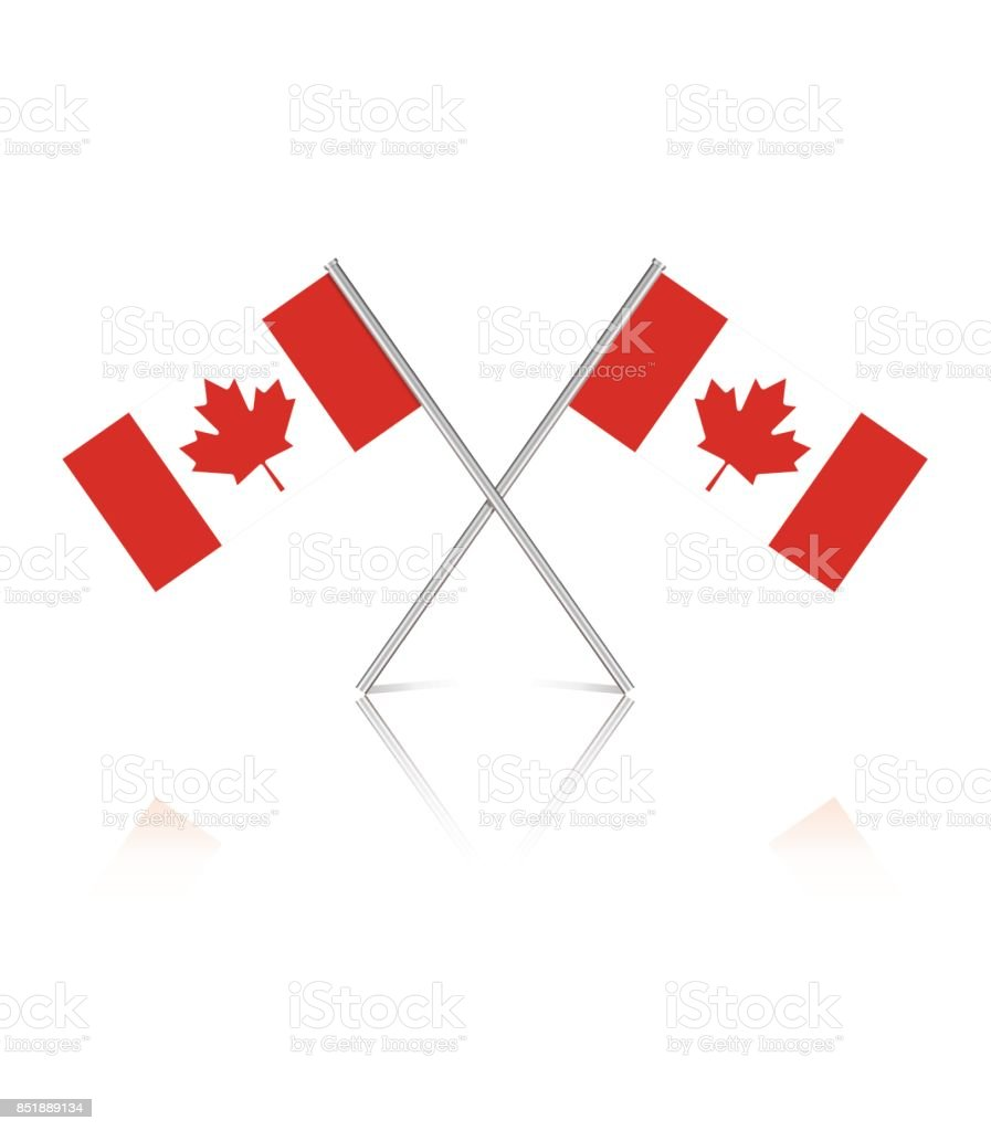 tiny canadian flags on white reflective background stock vector