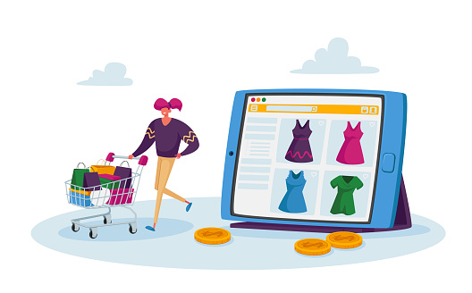 Tiny Character Purchase Dresses in Internet Store, Online Shopping. Girl Customer Pushing Trolley with Bags Buying Goods