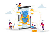 Tiny Characters around Huge Mobile with Robot Assistant. Artificial Intelligence in Human Life. Chatbot Help Clients Online Answer Questions, Ai Cyborgs Faq Service. Cartoon People Vector Illustration