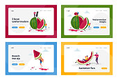 istock Tiny Characters Enjoying Huge Watermelon Landing Page Template Set. Summer Time, Group of People, Family and Friends 1265316432