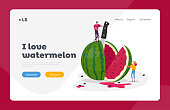 Tiny Characters Enjoying Refreshing of Huge Ripe Watermelon Landing Page Template. Summer Time Food, Man and Woman Slicing Melon for Eating. Fruits Season, Relaxing People. Cartoon Vector Illustration