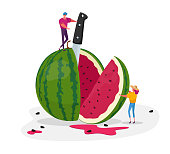Tiny Characters Enjoying Refreshing of Huge Ripe Watermelon. Summer Time Food, Man and Woman Have Fun, Slicing Melon with Knife for Eating. Fruits Season, Relaxing People. Cartoon Vector Illustration
