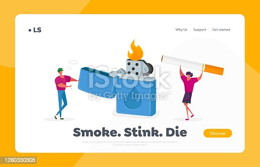 Tiny Characters Get Pleasure from Smoking Addiction Landing Page Template. Woman and Man Light Cigarette from Huge Burning Lighter Causing Harm to Health Problem. Cartoon People Vector Illustration