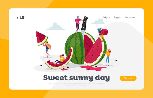 Tiny Characters Enjoying with Huge Watermelon. Landing Page Template. Family and Friends Having Fun, Eating Fruits