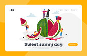 istock Tiny Characters Enjoying with Huge Watermelon. Landing Page Template. Family and Friends Having Fun, Eating Fruits 1265316433
