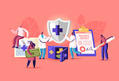 istock Tiny Characters Fill Huge Policy Document, Doctors Holding Protective Shield with Cross. People Signing Health Insurance 1272300467