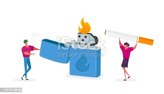 Tiny Characters Get Pleasure from Smoking Addiction. Woman and Man Light Cigarette from Huge Burning Lighter Causing Harm to Health Problem, Cancer and Lung Disease. Cartoon People Vector Illustration