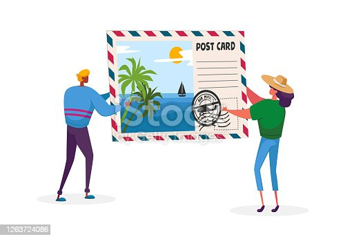 istock Tiny Characters Holding Huge Postcard with Tropical Beach and Palm Trees. Summer Time Vacation, Memory After Traveling 1263724086