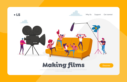 Tiny Characters Make Movie Landing Page Template. Operator Using Camera, Staff with Professional Equipment Recording Film about Sports Team and Fans on Huge Sofa. Cartoon People Vector Illustration