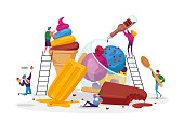 Tiny Characters on Ladders Decorate Ice Cream. Delicious Sweet Dessert, Summer Time Food, Cold Meal. Different Types of Icecream Popsicle, Waffle Cone, Creme Brulee. Cartoon People Vector Illustration