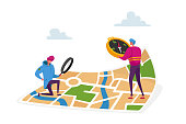 Tiny Characters Orienteering at Huge Paper Map. Men with Magnifier and Compass Searching Correct Way in Foreign City or Tourist Route. Geolocation, Gps Navigation. Cartoon People Vector Illustration