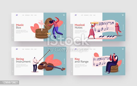 Tiny Characters Play Musical Instruments around Huge Music Box with Ballerina Landing Page Template Set. People with Violin, Flute and Piano Keyboard Write Notes on Stave. Cartoon Vector Illustration