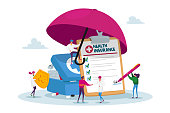 Tiny Characters under Huge Umbrella Fill Policy Document, Doctor Holding Protective Shield with Cross. People Signing Health Insurance, Medical Protection, Life Guarantee. Cartoon Vector Illustration