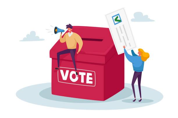 ilustrações de stock, clip art, desenhos animados e ícones de tiny characters vote, polling, presidential election or social poll concept. voters casting ballots during voting - democracy illustration