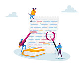 istock Tiny Characters with Magnifying Glass and Red Pencil Editing Mistakes in Paper Test. Teacher or Student Fix Grammar 1260329688