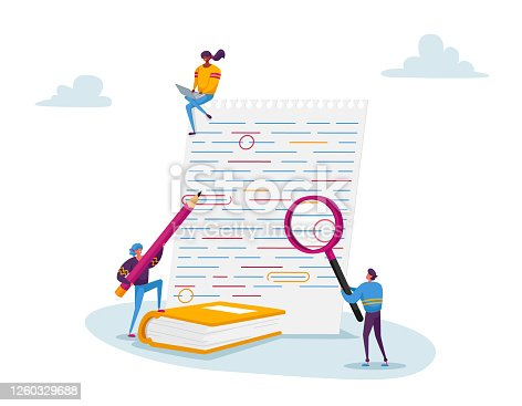 Tiny Characters with Huge Magnifying Glass and Red Pencil Edit and Correct Mistakes in Paper Test. Teacher or Student Fix Grammar and Punctuation Underlined Errors. Cartoon People Vector Illustration