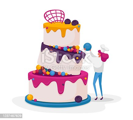 istock Tiny Confectioner or Baker Female Character in Chief Uniform and Toque Decorate Huge Festive Cake for Wedding or Birthday. Baker Cooking Pie with Cream, Mousse and Glaze. Cartoon Vector Illustration 1237467629