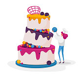 Tiny Confectioner or Baker Female Character in Chief Uniform and Toque Decorate Huge Festive Cake for Wedding or Birthday. Baker Cooking Pie with Cream, Mousse and Glaze. Cartoon Vector Illustration