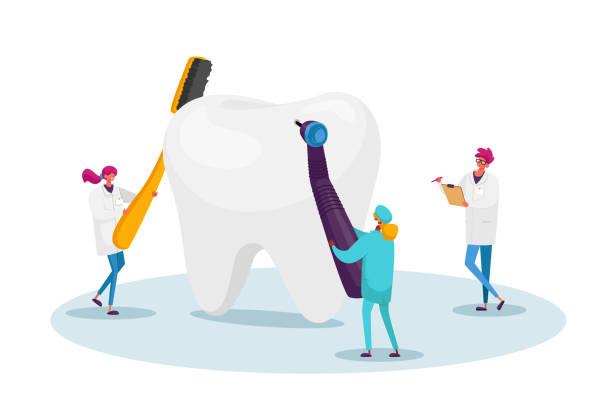stockillustraties, clipart, cartoons en iconen met kleine tandartsen tekens controleren enorme tand voor caries gat in plaque. artsen houden stomatology tools drill en brush - streptococcus mutans