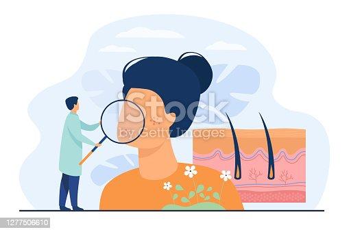 istock Tiny dermatologist examining dry face skin 1277506610
