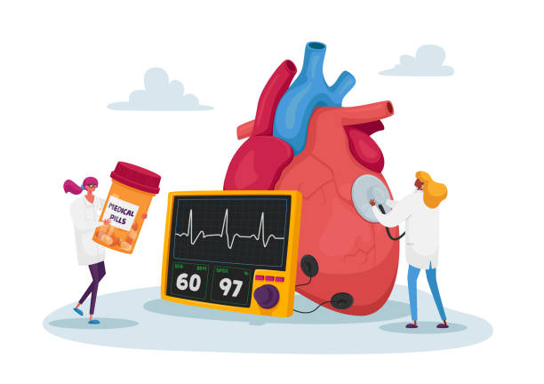 Tiny Doctor Characters at Huge Human Heart Measure Pulse with Stethoscope and Cholesterol Level for Diagnose, Treatment Tiny Doctor Characters at Huge Human Heart Measure Pulse with Stethoscope and Cholesterol Level Diagnose and Treatment. Cardiology Health Care, Medicine and Pills. Cartoon People Vector Illustration image stock illustrations
