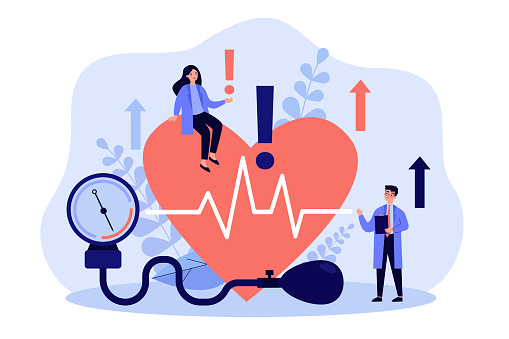 Tiny doctors examining heart health flat vector illustration. Cartoon medical specialists doing checkup of blood pressure, pulse rate and cholesterol. Cardiovascular disease and cardiology concept