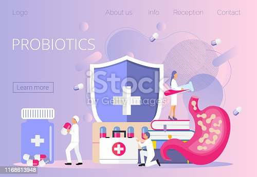 Tiny doctors give stomach prebiotic, lactobacillus. Probiotics bacteria concept vector for horizontal banner, poster, flyer, website, app. Symbol for milk, kefir, yogurt acidophilus bulgaricus
