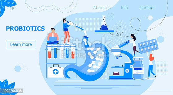 Tiny doctors give stomach probiotic bacteria, lactobacillus. Healthcare landing page, immunity support concept vector for horizontal banner, poster, flyer, website. Symbol of useful milk products.
