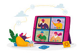 Tiny Female Business Character Employee Speak on Video Call with Remote Colleagues on Online Briefing, Workers Webcam Group Conference with Coworkers on Huge Tablet. Cartoon People Vector Illustration