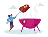 Tiny Female Character Cooking Streetfood at Summer in Outdoor Barbeque. Street Food, Takeaway Junk Meals. Bbq Party, Woman with Beefsteak on Fork Frying Meat on Oven. Cartoon Vector Illustration