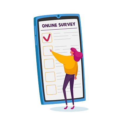 Tiny Female Character Filling Online Survey Form on Huge Smartphone Screen. Voters Questionnaire, Customers Feedback