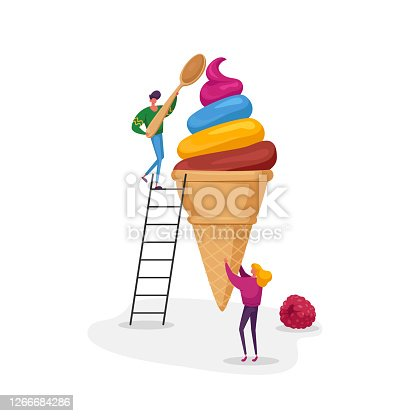Tiny Female Character Holding Huge Fruit Ice Cream in Waffle Cone Man on Ladder Eat with Spoon. Summer Time Food, Delicious Sweet Dessert, Cold Treat. People with Icecream. Cartoon Vector Illustration