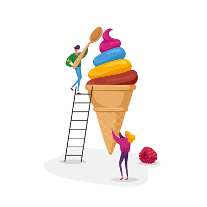 Tiny Female Character Holding Huge Fruit Ice Cream in Waffle Cone Man on Ladder Eat with Spoon. Summer Time Food Snack
