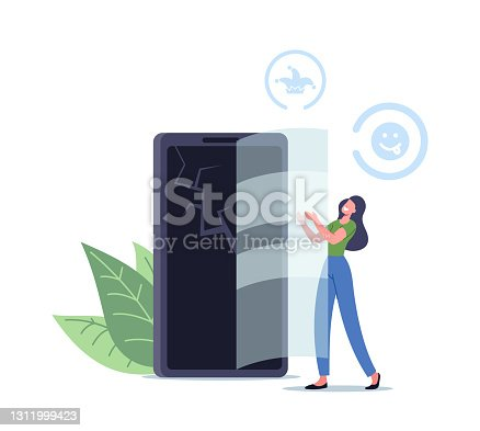 istock Tiny Female Character put Glass on Cracked Smartphone Screen doing Prank Trick at First April Fools Day. Joking Friends 1311999423
