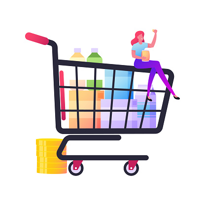 Tiny Female Character Sitting on Huge Shopping Trolley with Purchases Eating Chips. Customer in Shop Buying Products