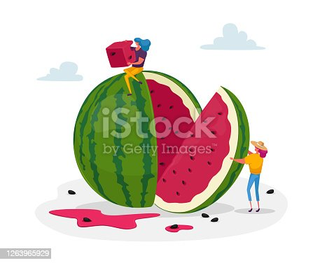 istock Tiny Female Characters Enjoying Refreshing of Huge Ripe Watermelon. Women Slicing and Eating Melon Relaxing, Summer Food 1263965929