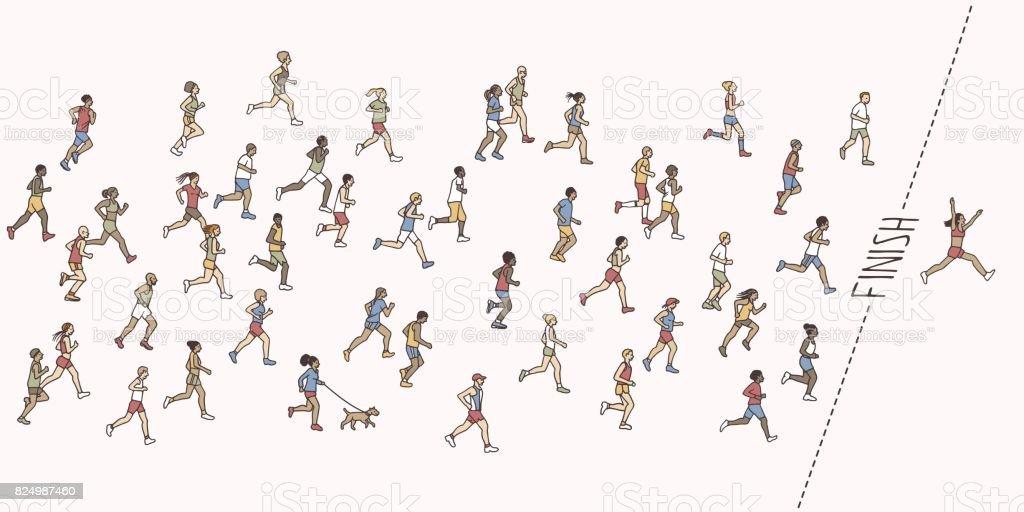 Tiny hand drawn marathon runners vector art illustration