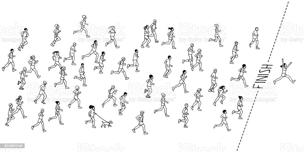 Tiny hand drawn marathon runners royalty-free tiny hand drawn marathon runners stock vector art & more images of adult