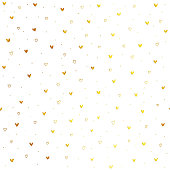 istock Tiny hand drawn uneven gold heart shapes on white paper background - seamless luxury and minimalistic love card design in vector 1040531718