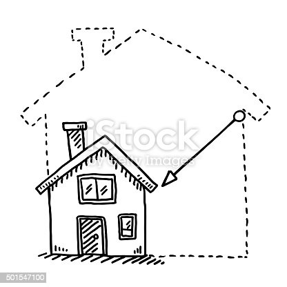 Hand-drawn vector drawing of a Tiny House Downsizing Concept. Black-and-White sketch on a transparent background (.eps-file). Included files are EPS (v10) and Hi-Res JPG.