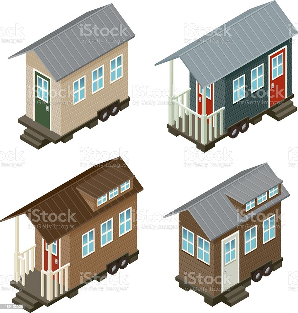 Tiny House Isometric Icon Set vector art illustration